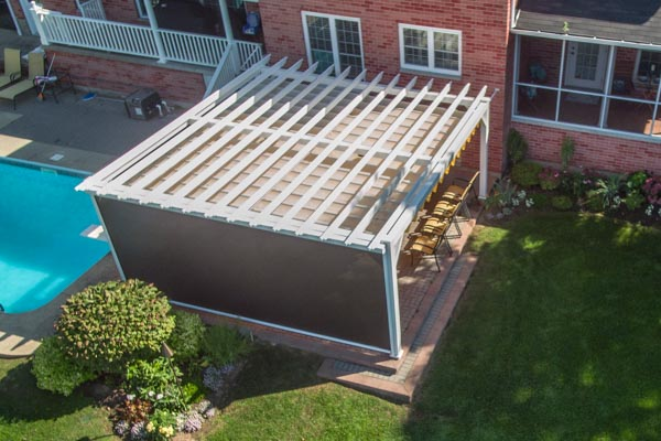 Aluminum pergola top view